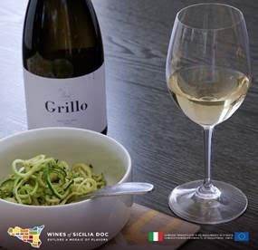 A Sicilia DOC Grillo wine sets your veggie pasta afire with flavor