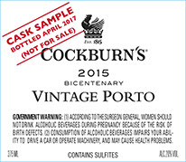 Cockburn's vintage port 2015 label