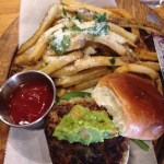 T&B black bean veggie mini-burger w/Parmesan-cilantro fries