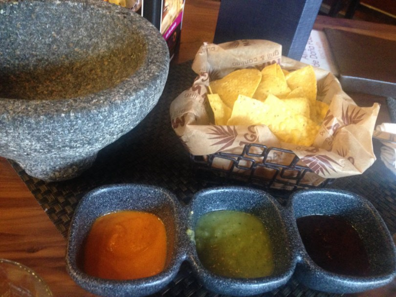 Mago chips and 3 levels-of-spice salsa