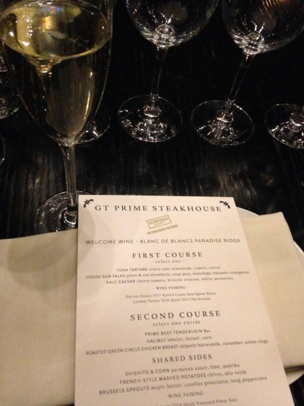 GT Prime menu pairings for Sonoma wines