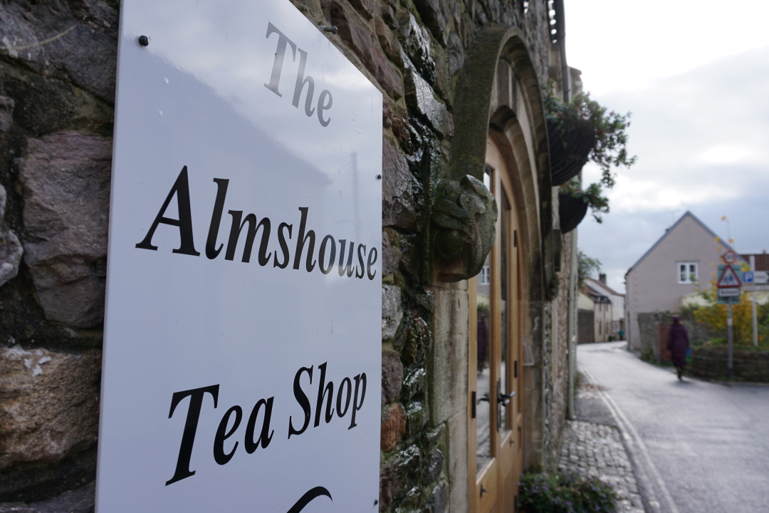 Almshouse Tea Room outside sign
