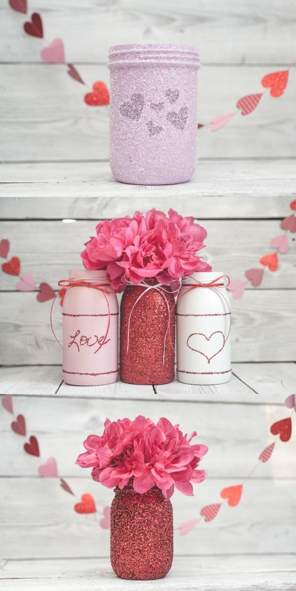 Valentine's Day Glitter Mason Jar
