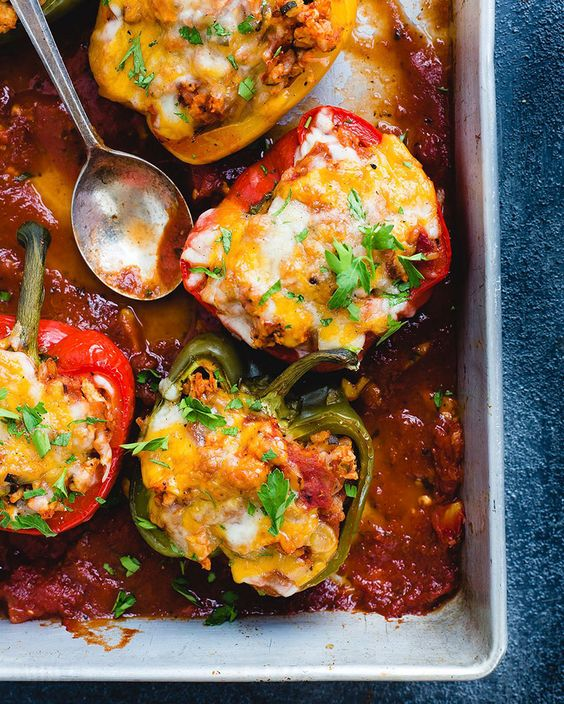 TRI COLORED STUFFED BELL PEPPERS