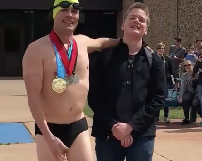 Speedo-Wearing Dad Picks Up His Son From School