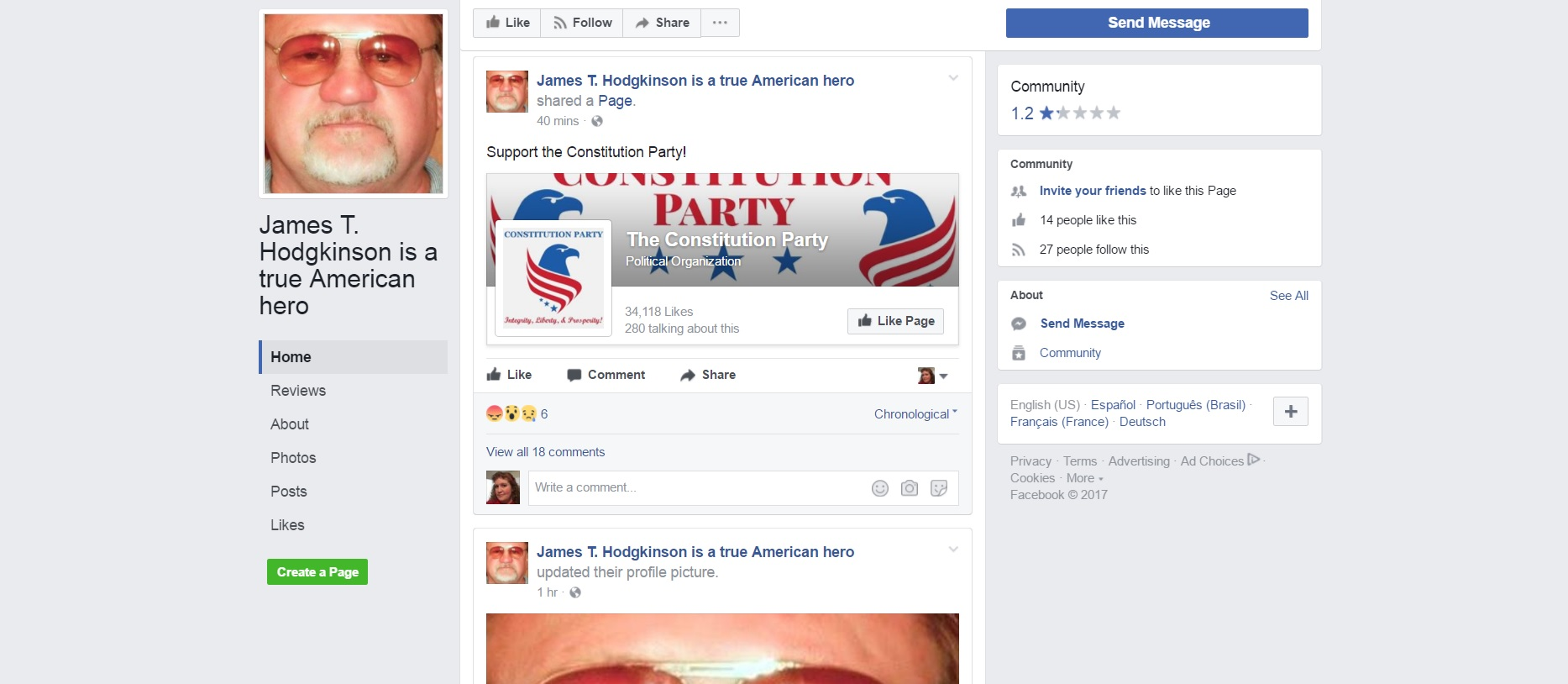 Facebook Page PRAISING The GOP Baseball Shooter