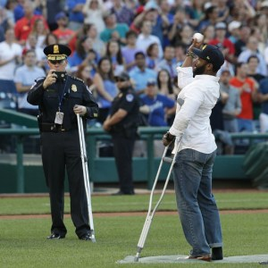 Hero Capitol Police officer Injured In Shooting Throws First Pitch at Congressional Baseball Game