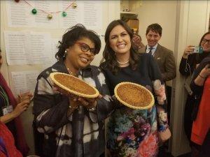 Sarah Sanders presents April Ryan with her own pecan pie