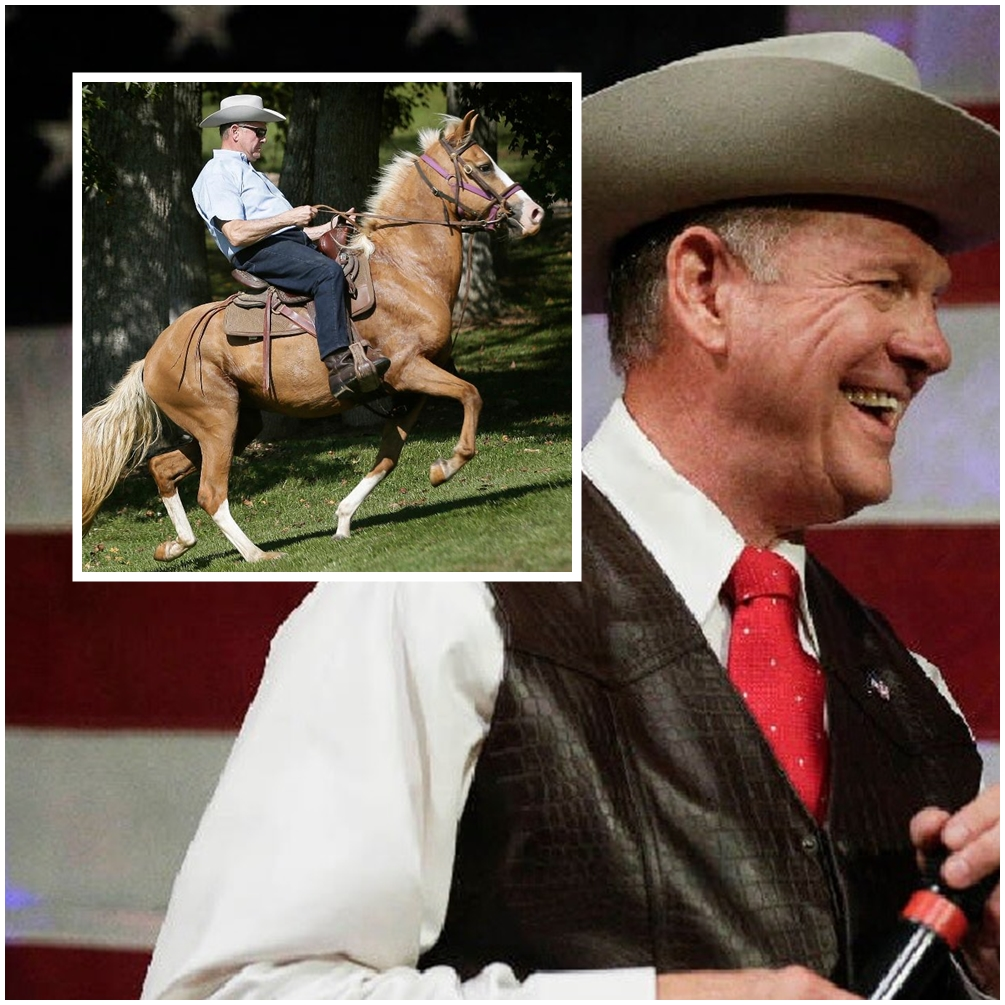 Roy Moore arrives at polling place on horseback to vote for himself in special election