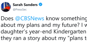 Sarah Sanders Addresses The CBS Report That She's Leaving The White House