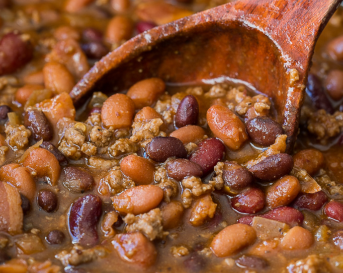 Slow Cooker Steakhouse Cowboy Baked Beans