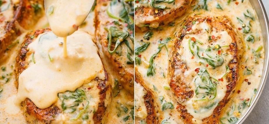 Creamy Garlic Spinach Pork Chops