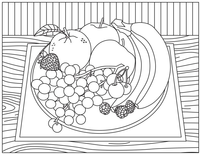 Relieve stress and promote fruit with brand new coloring for Fruit coloring pages for adults
