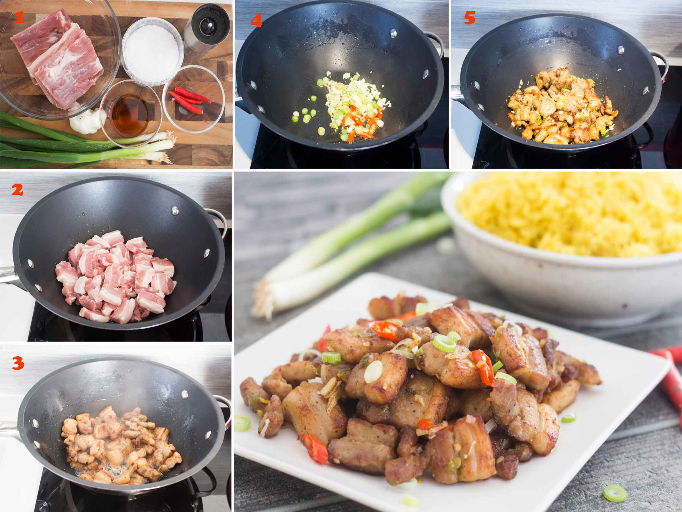 Collage of images showing the steps in making Salt and Pepper Pork Belly.