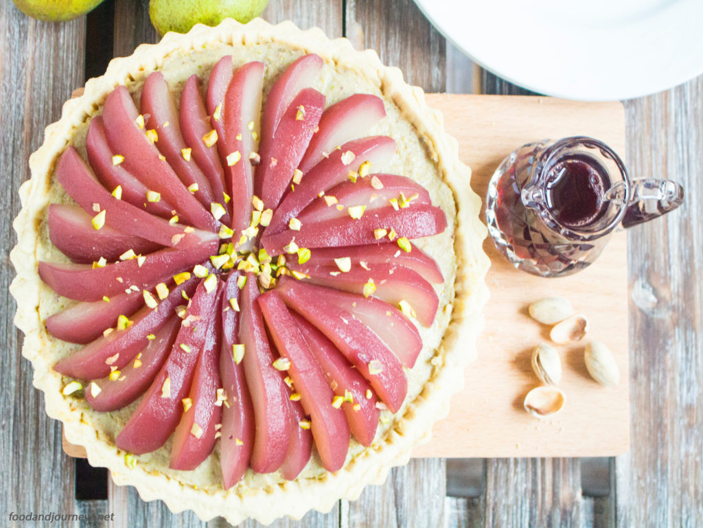 Poached Pear and Pistachio Tart|foodandjourneys.net