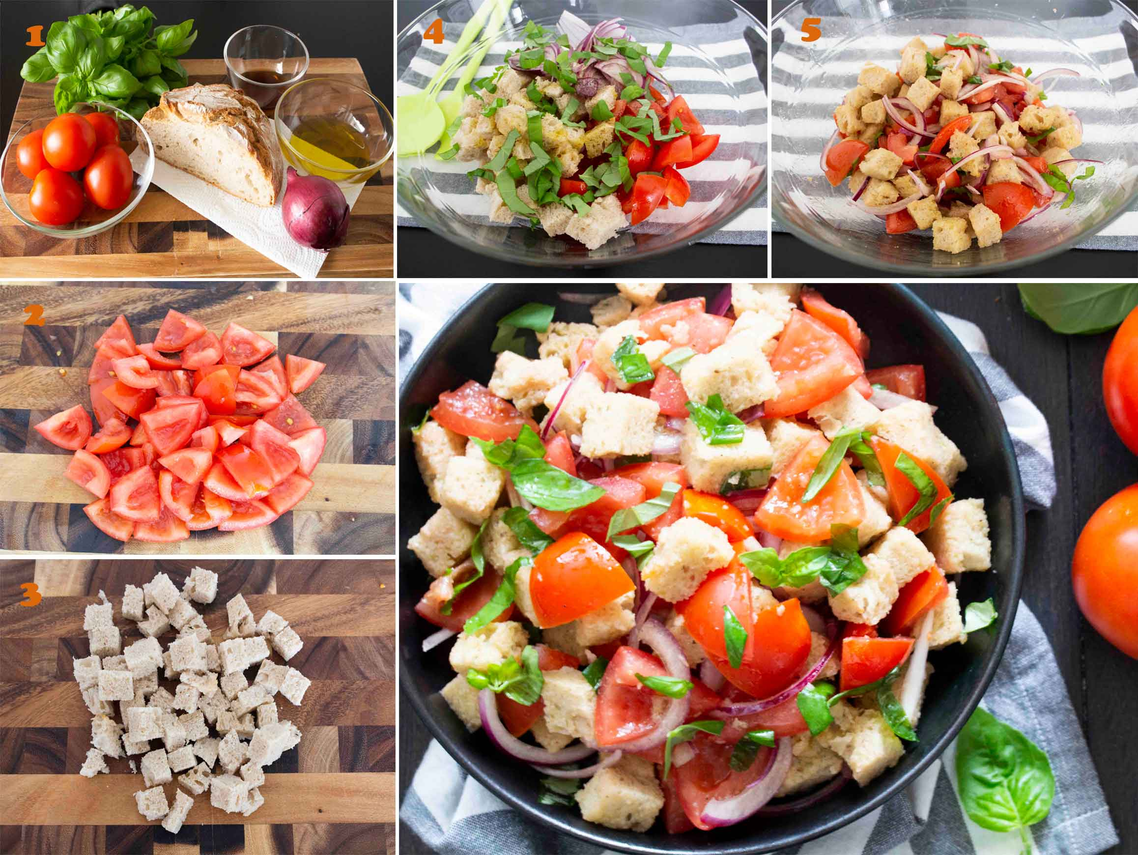 A collage of images showing the step by step process of making Panzanella (Bread and Tomato Salad)