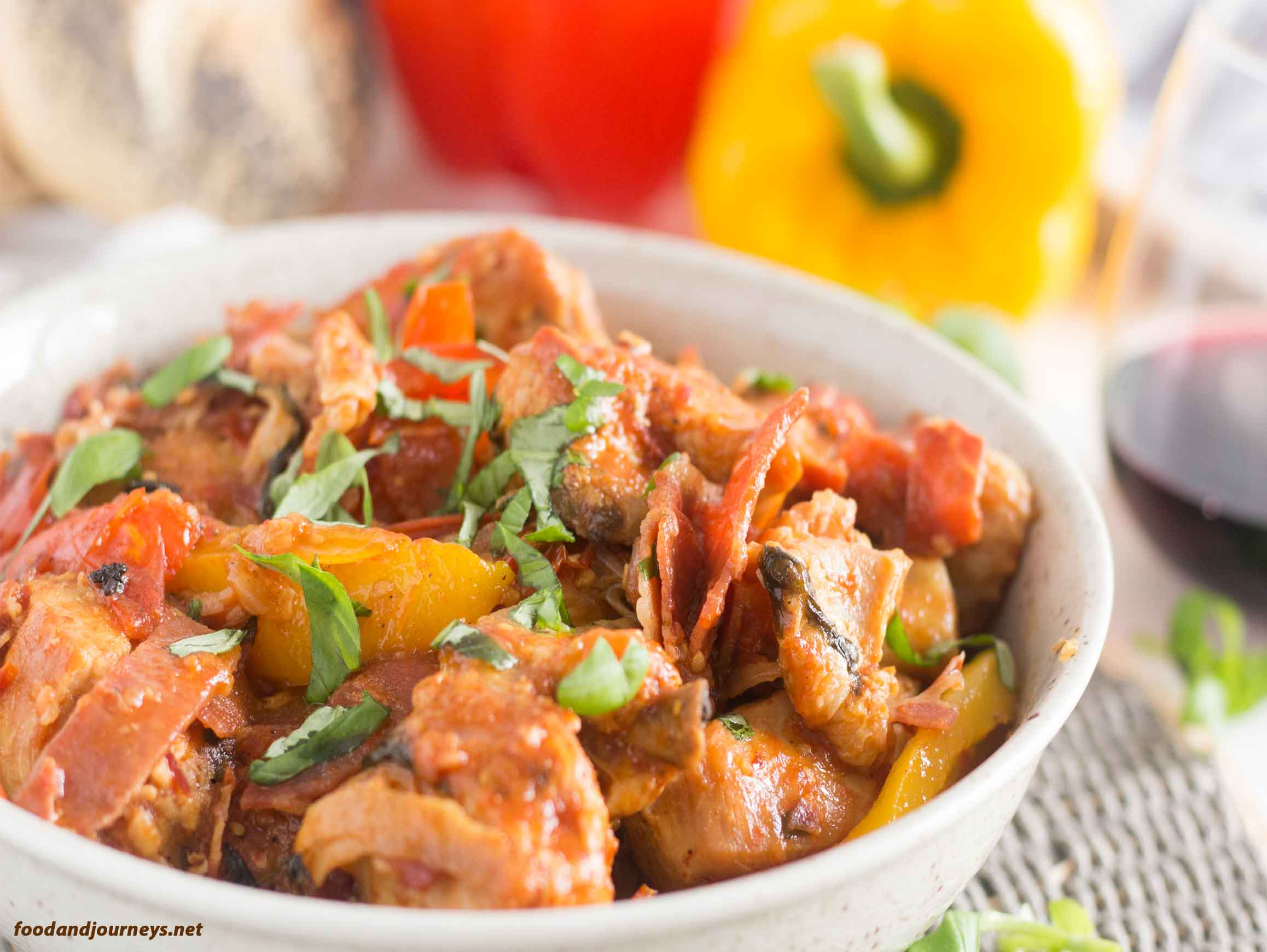 An image of Chicken Romana on a plate|foodandjourneys.net