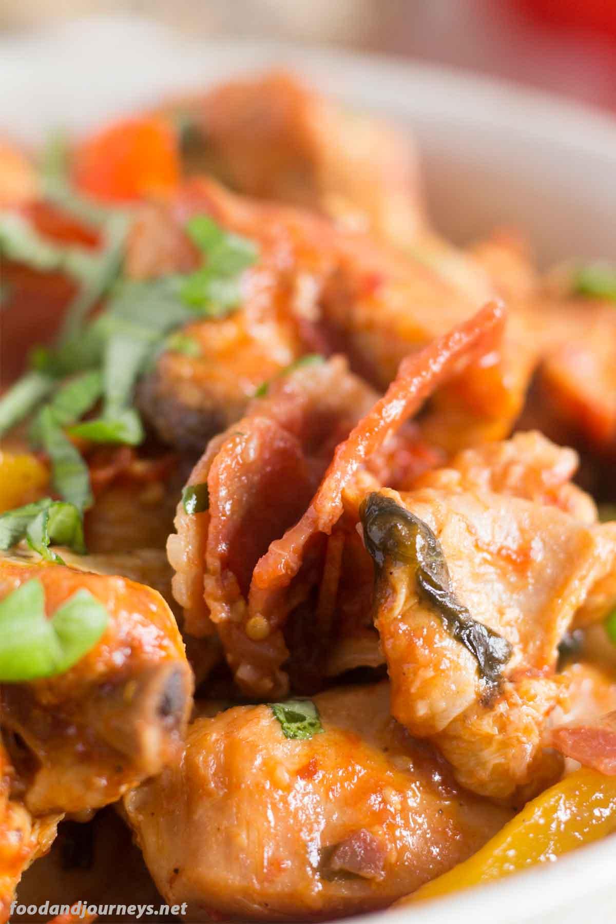 A closer image of Pollo alla Romana highlighting the ingredients|foodandjourneys.net