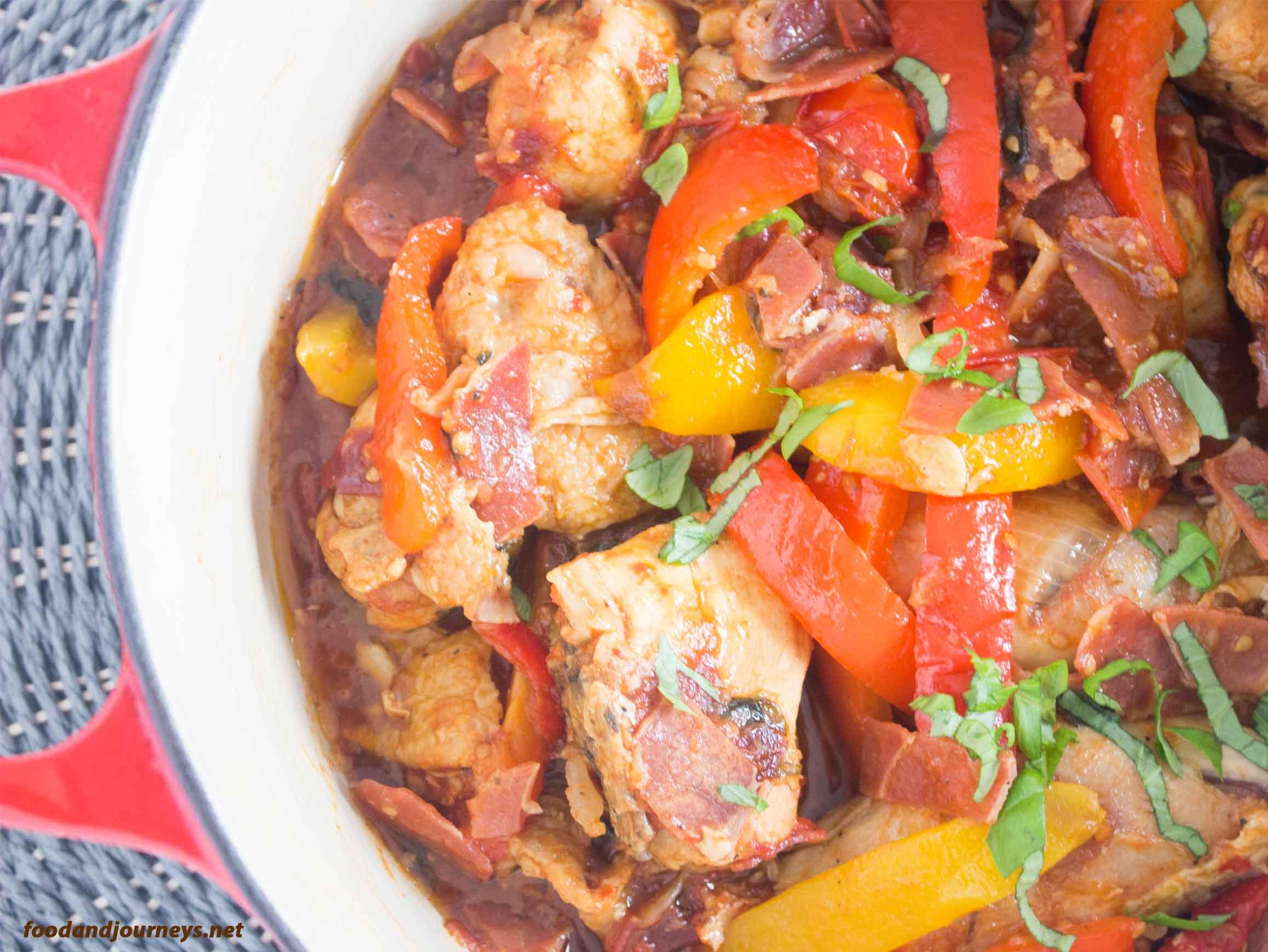 An overhead image of Chicken Romana in a pot|foodandjourneys.net