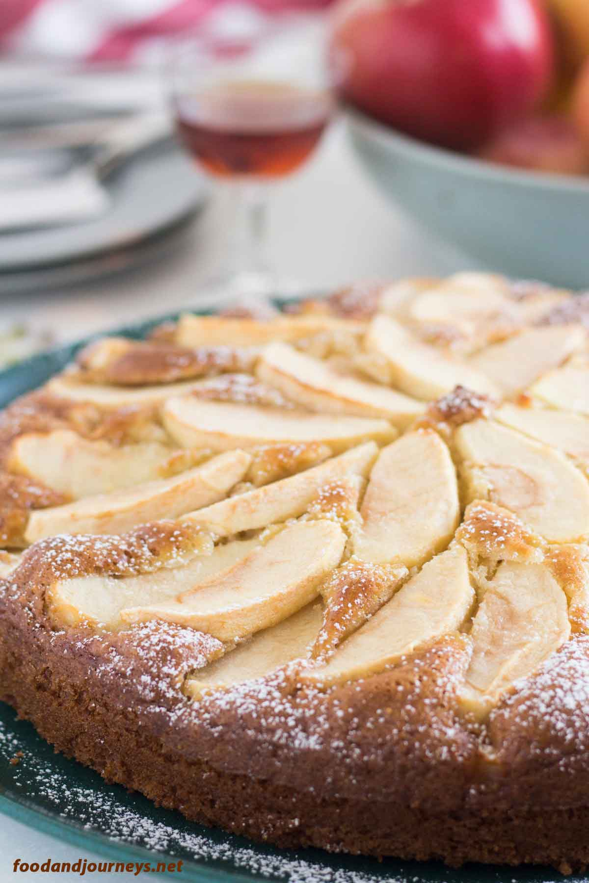 A closer image of Tuscan Apple Cake from the side|foodandjourneys.net