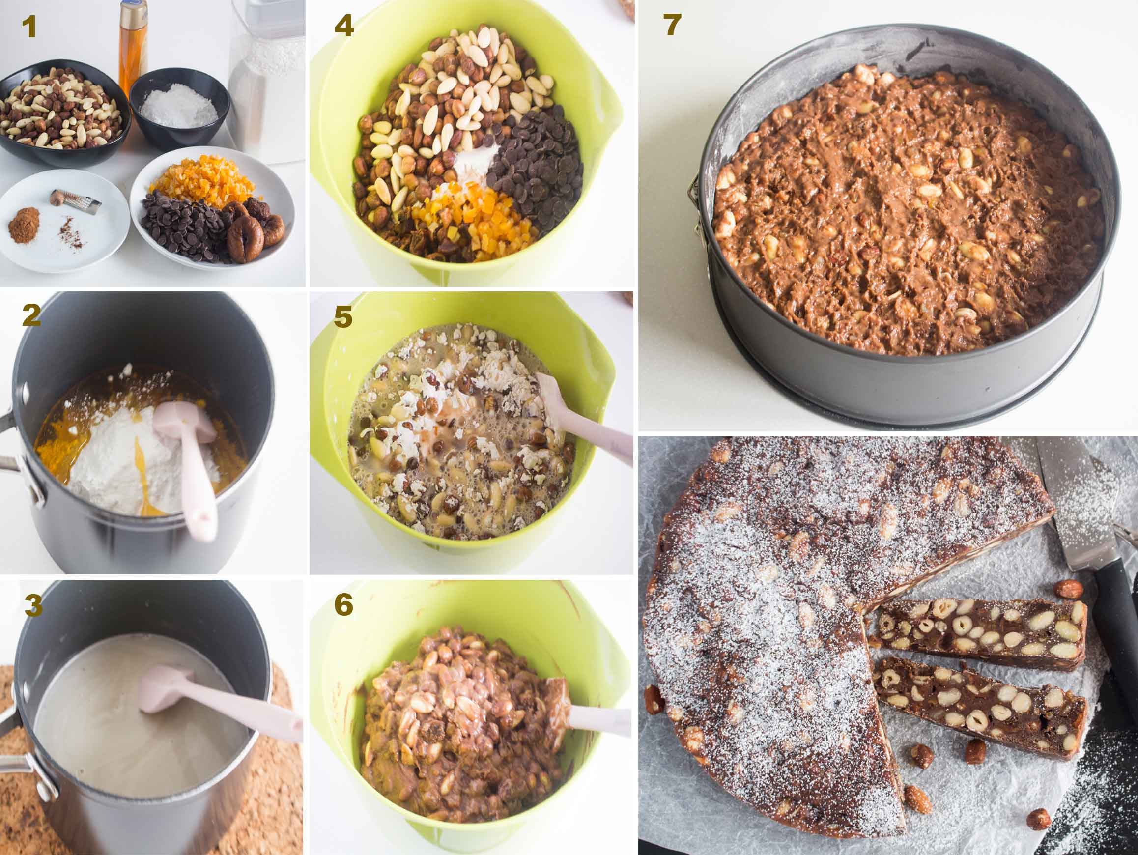 Collage of images showing the steps in making panforte|foodandjourneys.net