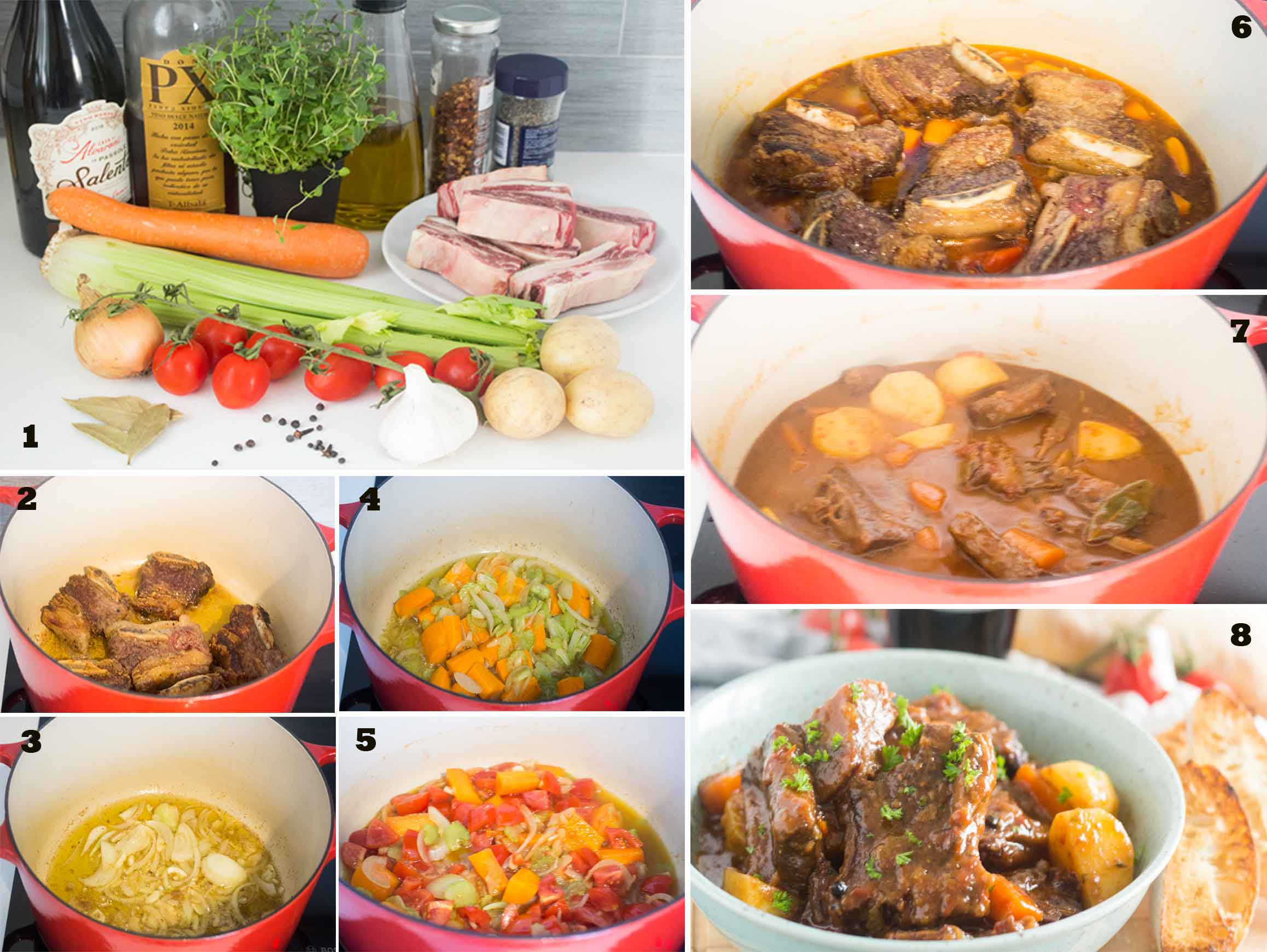 Collage of images showing the steps on how to make Spanish Beef Stew.