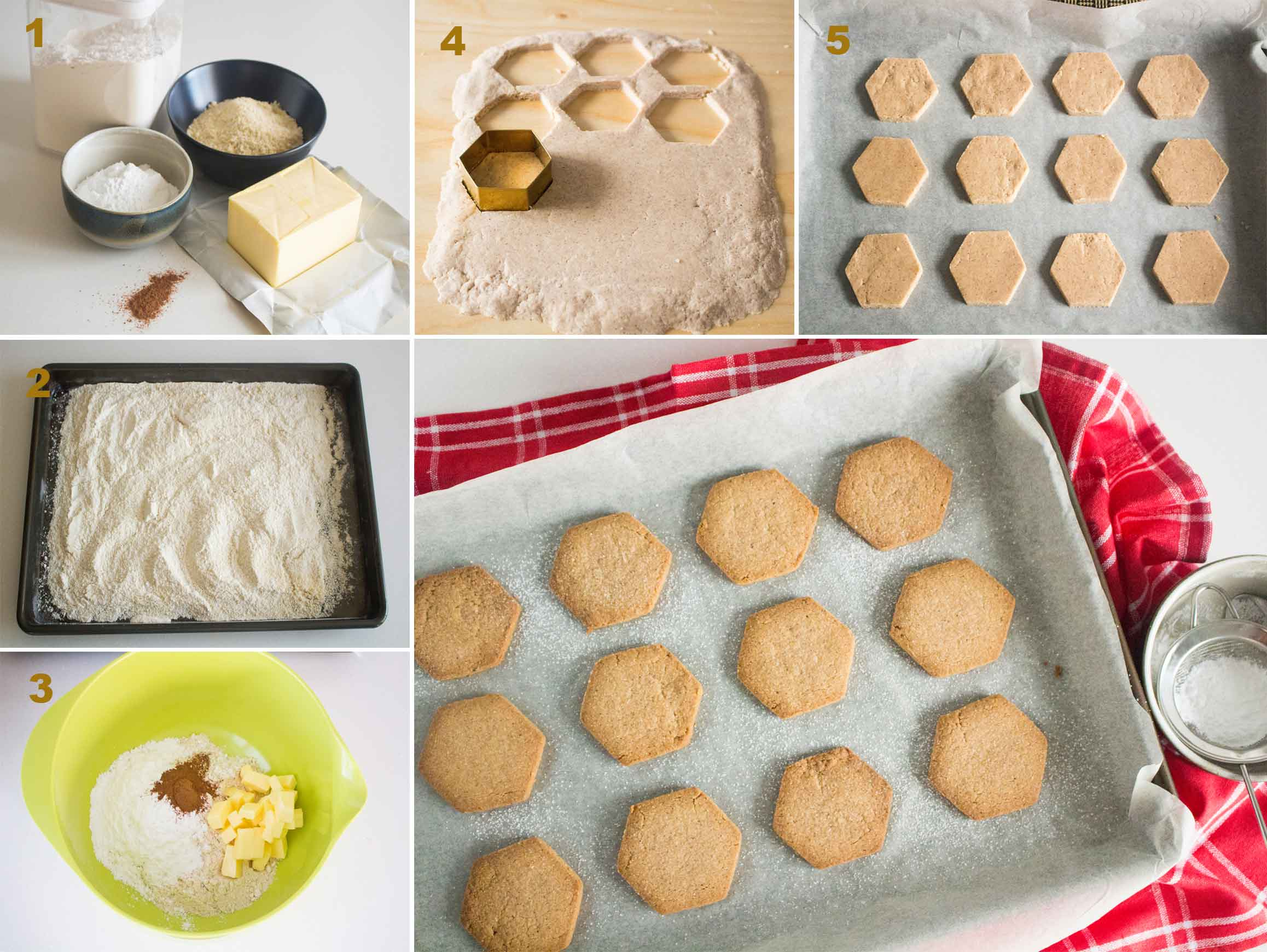 Collage of images showing the steps in making Polvorones (Spanish Christmas Biscuits).