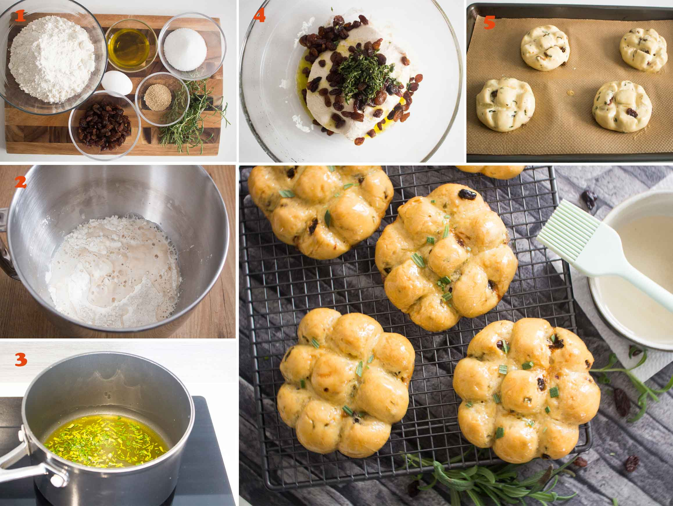 Collage of images showing the steps on how to make Tuscan Rosemary and Raisin buns (Pan di ramerino).