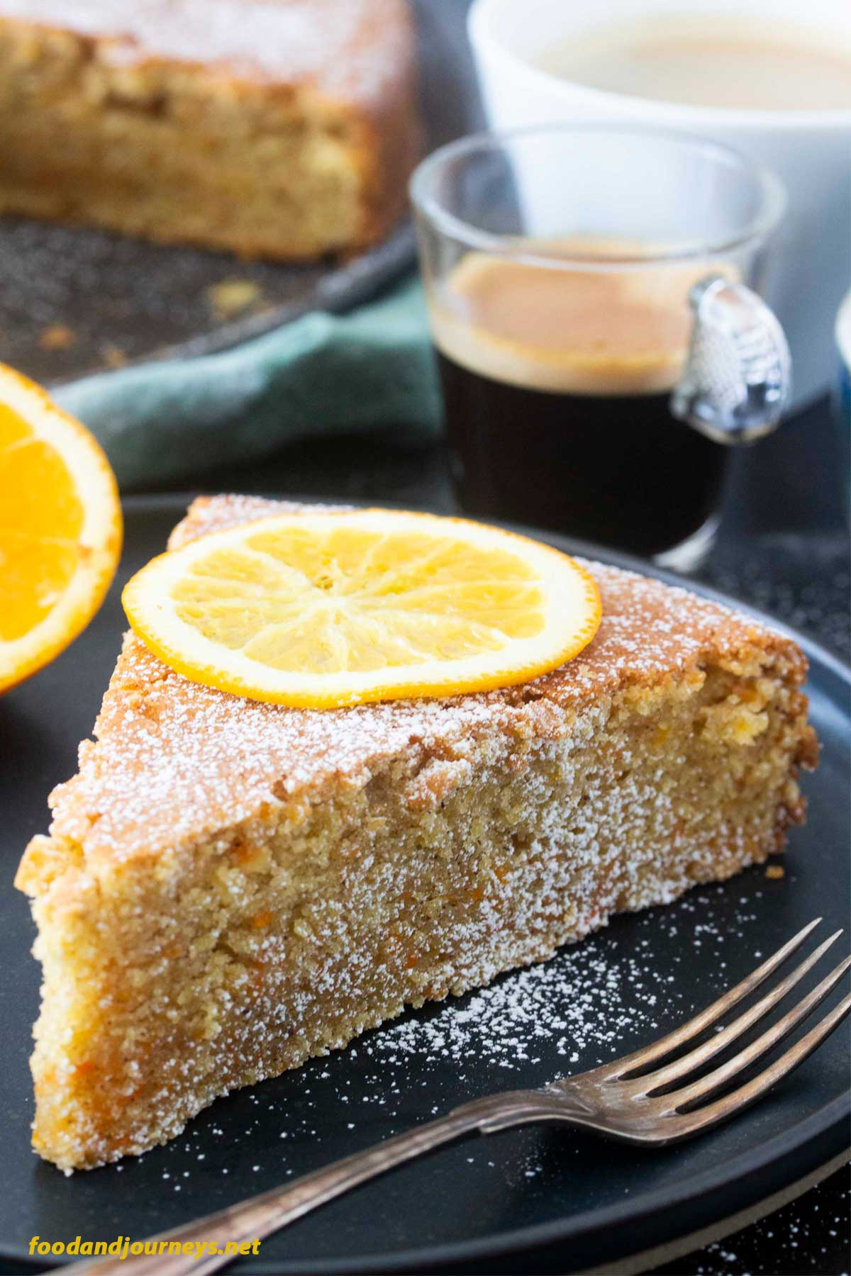 An image of a slice of Carrot and Orange Cake