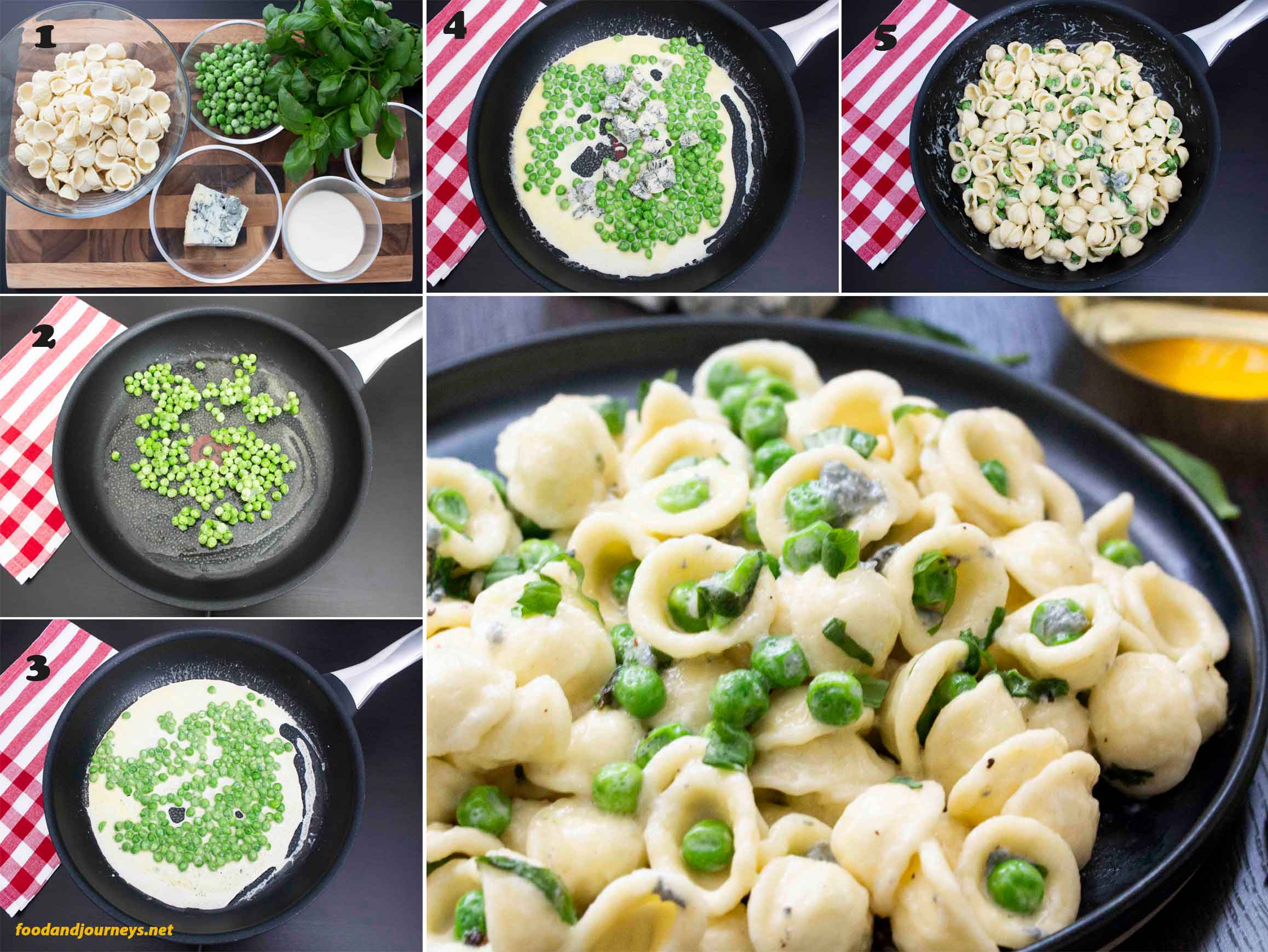 Collage of images showing step by step process on how to make Orecchiette with Peas & Gorgonzola