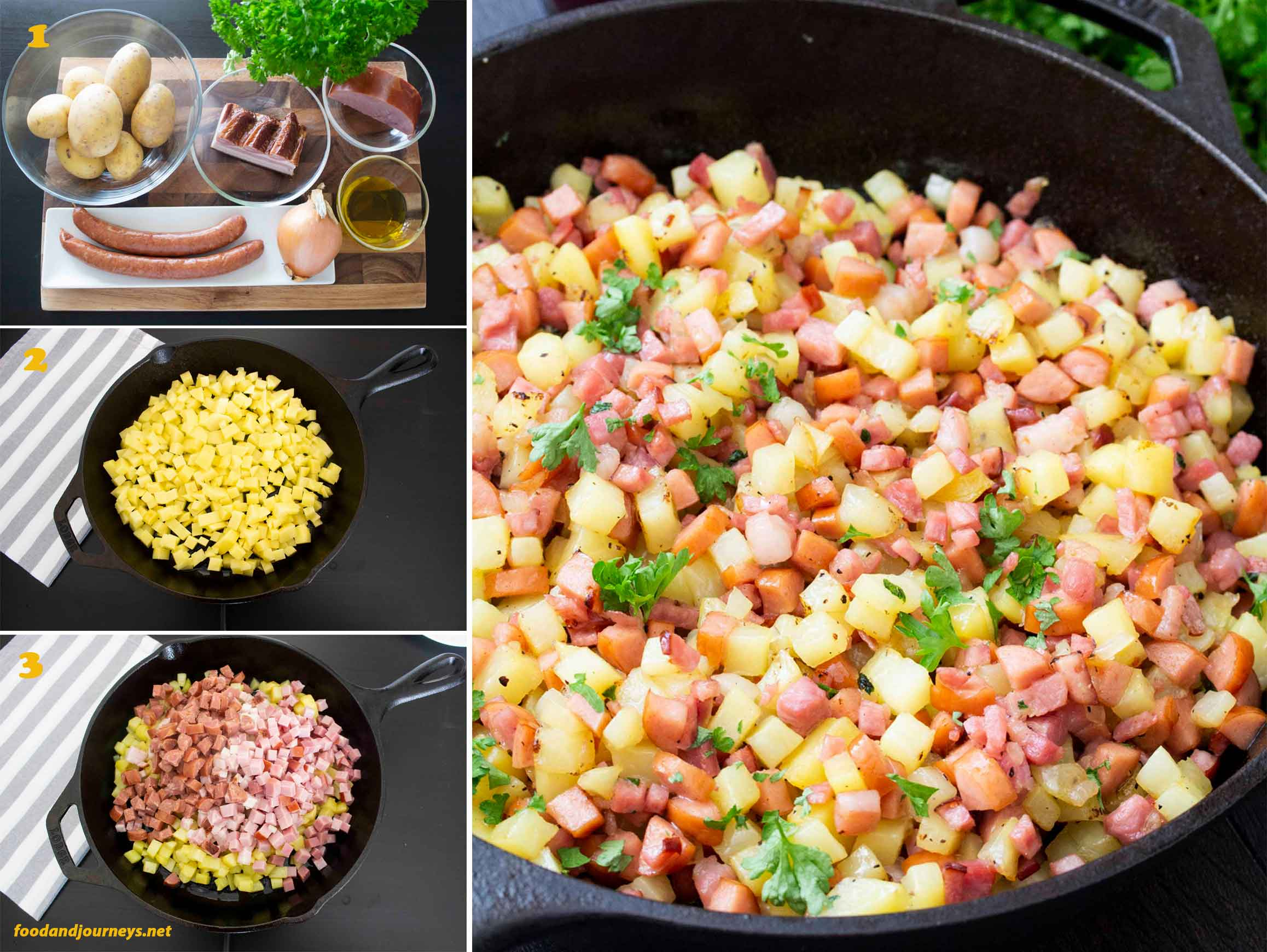 Collage of images showing step by step process on how to prepare Swedish Hash (Pyttipanna).