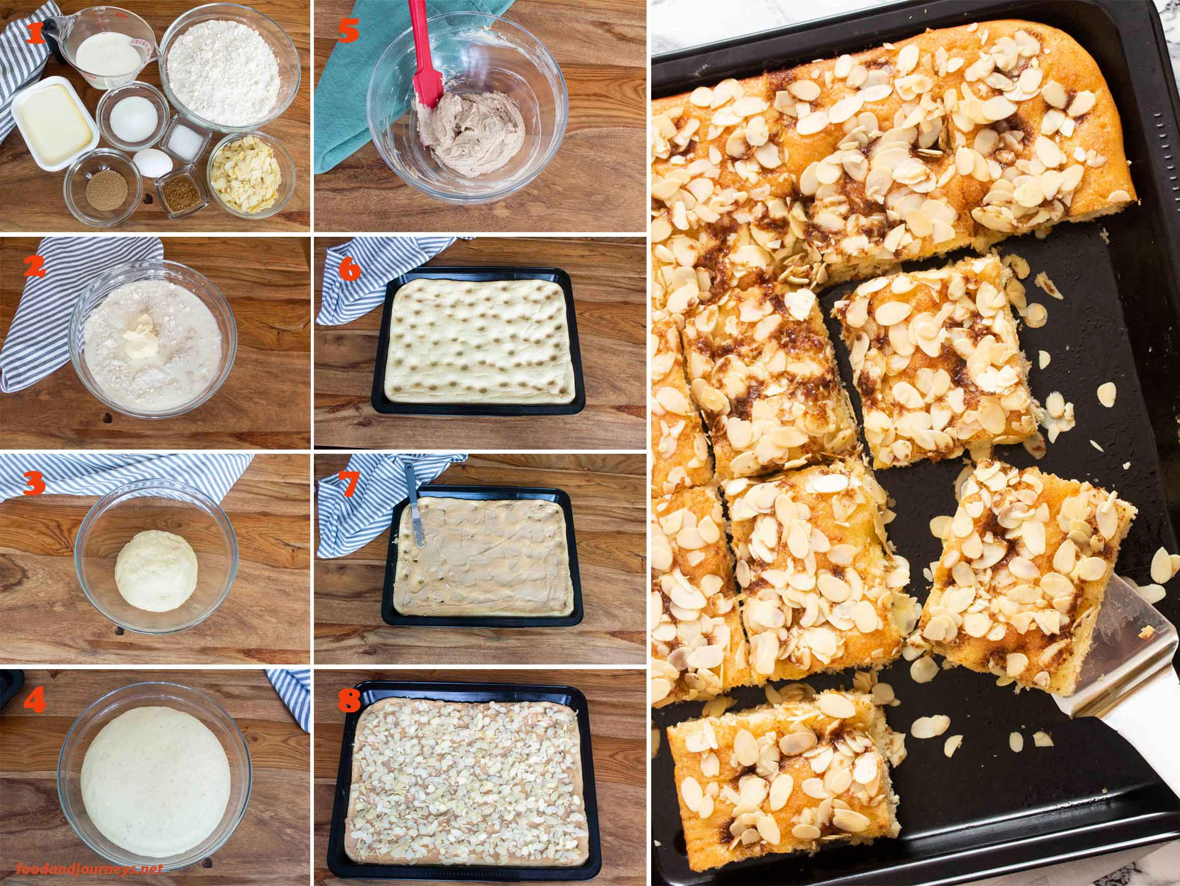 A collage of images showing the step by step process on how to make German Butter Sheet Cake (Butterkuchen).