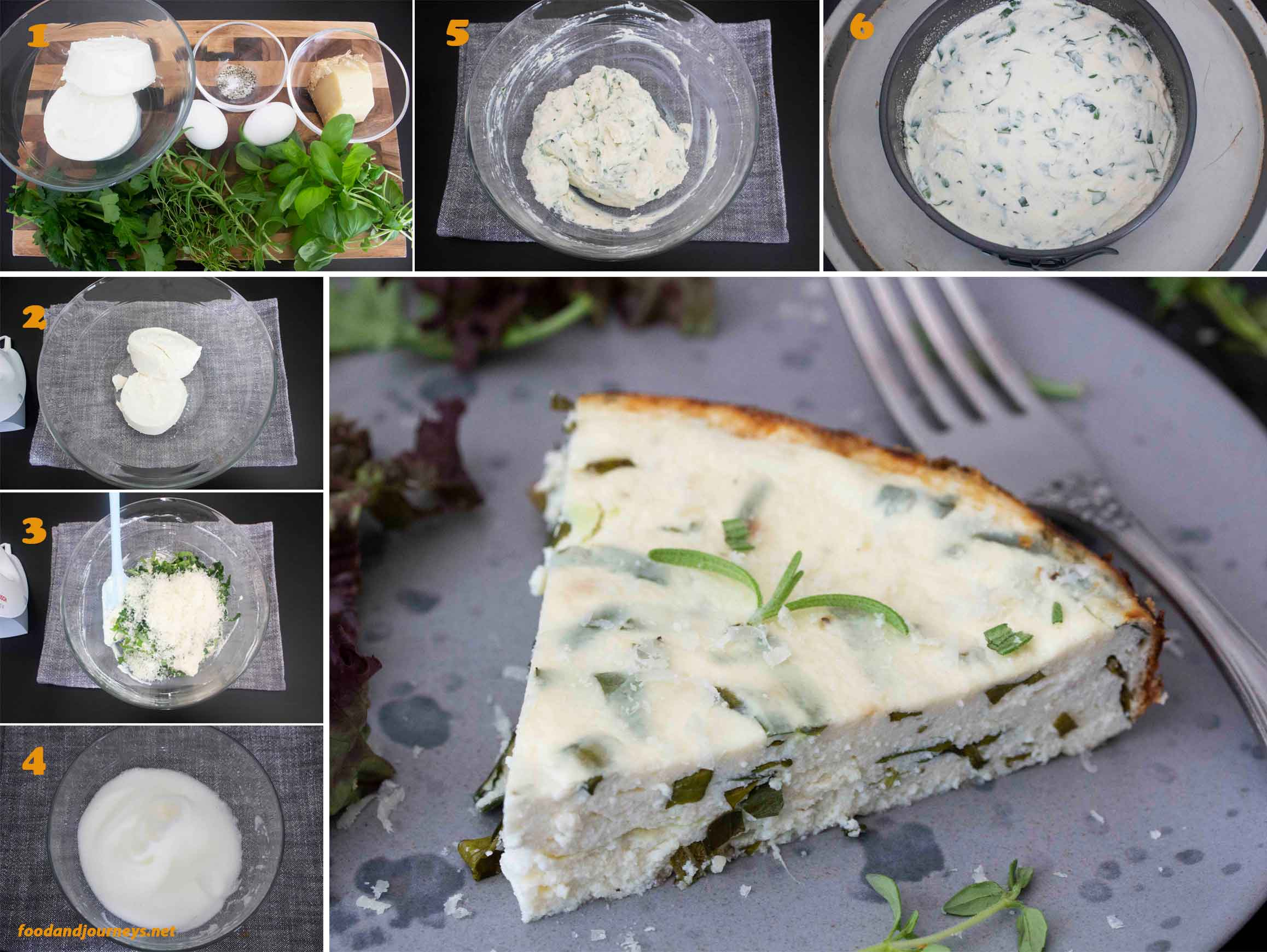 A collage of images showing the step by step process on how to make Herbed Ricotta Tart