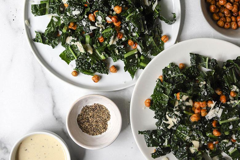 Kale and Crispy Chickpea Caesar Salad - Food & Nutrition Magazine - Stone Soup