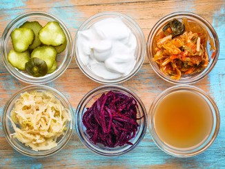 a set of fermented food: cucumber pickles, coconut milk yogurt, kimchi, sauerkraut, red beets, apple cider vinegar