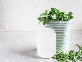 OXO Greensaver Herb Keeper with herbs inside of it