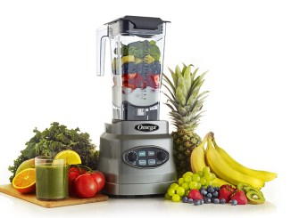Omega OM7560S 3HP Blender surrounded by fruit and veggies