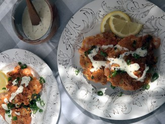 Spicy Shrimp Cakes with Creamy Yogurt Dressing served on two plates dappled with sunshine