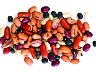 Mixture of dry beans isolated on white background