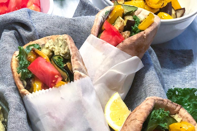 Roasted Veggie Pita Wraps with Pesto Hummus | Food & Nutrition | Stone Soup
