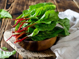 Chard leaves in a bowl
