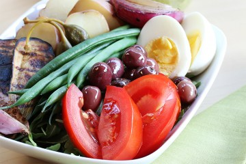 Nicoise salad with grilled vegetables and basil-mustard vinaigrette