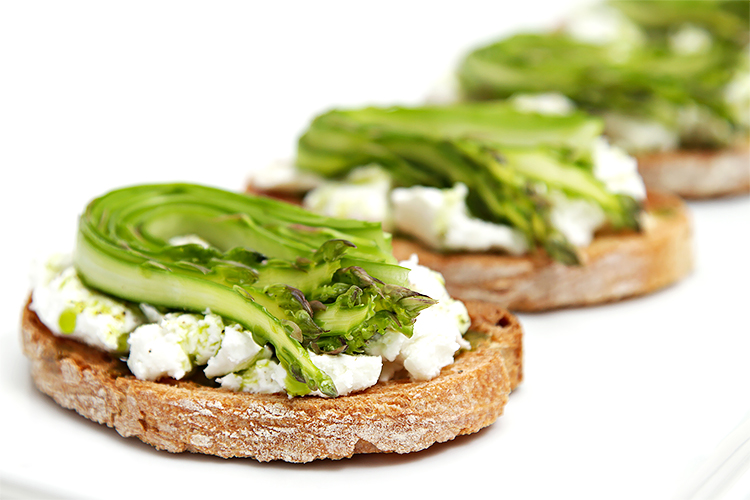Shaved asparagus and goat cheese bruschetta with chive-infused oil
