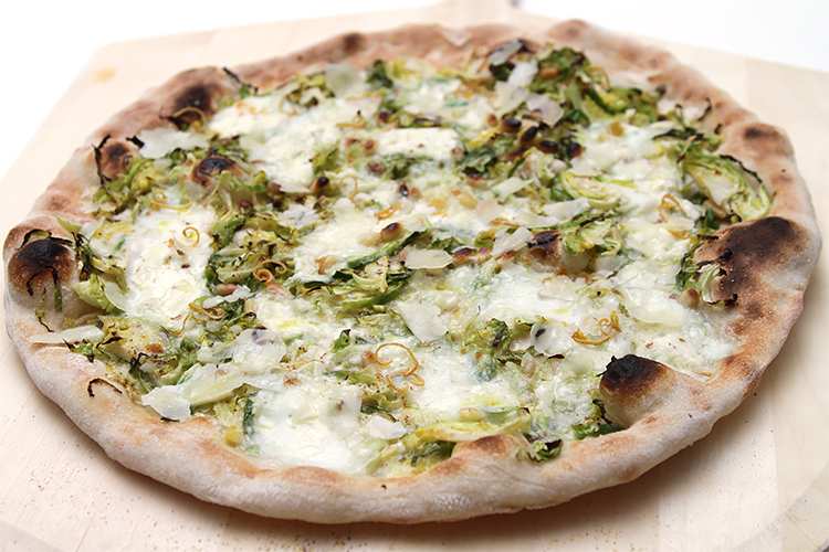 Shaved Brussels sprout pizza with burrata and dried lemon zest