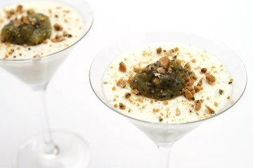 Buttermilk panna cotta with kiwi compote and salted Marcona almond brittle