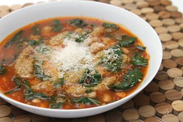 Tomato soup with cannellini beans and garlic confit