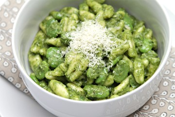Cavatelli with fresh fava beans & ramp pesto