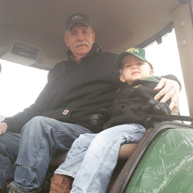 Any picture where my serious #farmer Dad is smiling is a dang treasure! Little guy on board today too. All hands on deck #farm365 #farmkid #farmlife