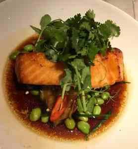 Bills Bondi Chilli miso salmon, hot and sour aubergine and herb salad $37.50