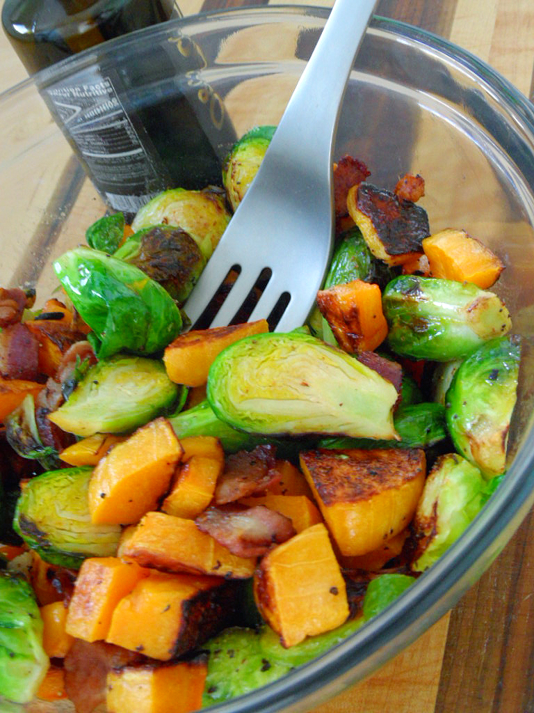 Roasted Brussels Sprouts and Butternut Squash with Bacon